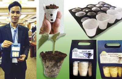 Biodegradable rubber nursery bag to reduce global warming